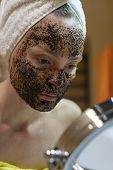 Mask On The Face Of Coffee Scrub. Face Skin Scrub. Face Skincare. poster