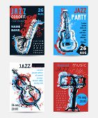 Jazz Music Party With Musical Instruments. Saxophone, Guitar, Cello, Drum Kit With Grunge Watercolor poster