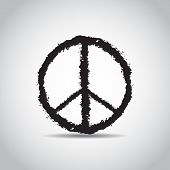 Sign Pacifist. Peace Symbol Drawn By Brush. Black Hippie Sign On A White Background. Isolated poster