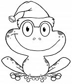 Outline Happy Frog With Santa's Hat