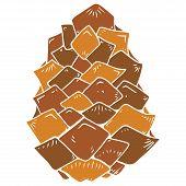 Pine Cone Icon. Vector Illustration Of A Pine Cone. Pine Cone Hand Drawn. poster