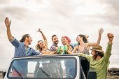 Group Of Happy Friends Cheering With Beer In Convertible Car - Young People Having Fun Drinking And  poster