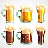 Set Of Beer Glasses And Beer Mugs Icons. Vector Design Elements poster