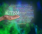 Masculine Autism Spectrum Word Tag Cloud - Male Hand With Open Palm Up With The Word Autism Floating poster