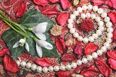 image of gobelin  - string of pearls with flowers and dry petals