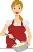 Illustration of a Pregnant Woman Baking