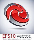 Vector illustration of 3D abstract swirl business logo.