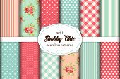 Set Of 12 Cute Seamless Shabby Chic Patterns With Roses, Polka Dots. Stripes And Plaid poster