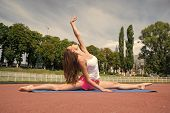 Sport And Yoga. Woman Workout And Stretching. Girl Sunny Outdoor On Fitness Mat. Summer Activity And poster