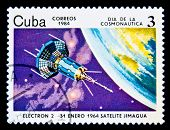 CUBA - CIRCA 1984: A stamp printed in Cuba shows Satilite Electron II, circa 1984. Space Series