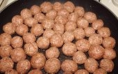 Raw Meatballs In Pan