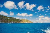 Sailboats Sail In Sea On Cloudy Blue Sky In Gustavia, St.barts. Sailing And Yachting Adventure. Summ poster