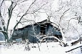 Old Barn During Snow Storm