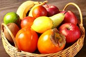 Fresh Mixed Exotic Fruits In Basket. Fruits Background. Healthy Eating, Dieting. poster