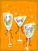 Illustration of Wineglasses with a New Year Theme