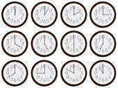 Reloj de zona horaria. Relojes muestra el tiempo del mundo.