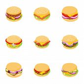 Homemade Burger Icons Set. Cartoon Set Of 9 Homemade Burger Icons For Web Isolated On White Backgrou poster
