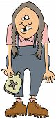 picture of hillbilly  - This illustration depicts a hillbilly girl holding a jug of moonshine - JPG