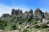 stock photo of landforms  - El Torcal de Antequera is known for its unusual landforms and is one of the most impressive karst landscapes - JPG