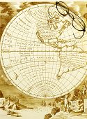 Antique Map With Old Spectacles