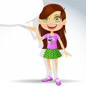 Cute little schoolgirl with speech bubble for text