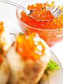 Red Caviar With Pancakes