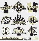 Vintage Chess Piece Labels and Icons