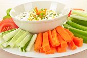 stock photo of cucumbers  - Dip snack and healthy vegetables  - JPG