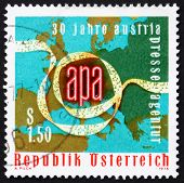 Postage stamp Austria 1976 Punched Tape, Map of Europe