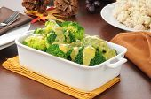 image of crown green bowls  - Broccoli with cheese sauce and a bowl of tuna casserole - JPG