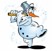 Cheerful dancing snowman plays the flute