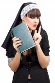 stock photo of nun  - Portrait of attractive young nun - JPG