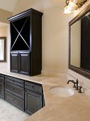 Luxury Bathroom With Cabinet On Counter