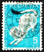Postage stamp Switzerland 1966 Ermine, Mustela Erminea, short-tailed Weasel