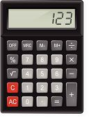 stock photo of subtraction  - Top View of Black Calculator - JPG