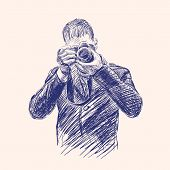 Photographer hand drawn vector