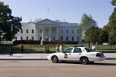 Police Car In Front Of White House