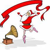 dancing santa claus, gramophone and banner