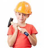 Child In The Construction Helmet