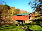 stock photo of covered bridge  - Covered bridge over the Battenkill River in West Arlington - JPG