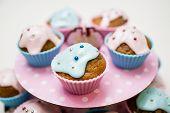 Homemade blue and pink cupcake