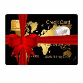 Creditcard aanwezig met rode strik