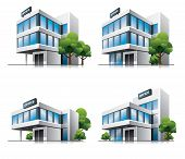 Four cartoon office buildings with trees.