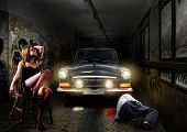 stock photo of mobsters  - Crime scene Sexy woman killed man in an underground tunnel - JPG