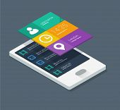 isometric mobile application concept in flat colors