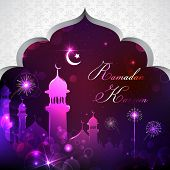 foto of eid ka chand mubarak  - illustration of Eid Mubarak background with mosque - JPG