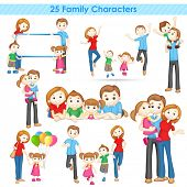 stock photo of three sisters  - illustration of collection of 3d family people - JPG