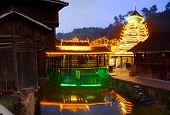 Night illumination of houses in Zhaoxing Town, Liping County, Guizhou, China. Zhaoxing Dong Village.
