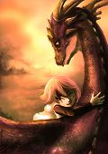 A Shabby Girl Is Hugging Her Dragon With Happiness in sunset