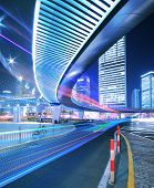 Megacity Highway At Rainbow Night With Light Trails In Shanghai